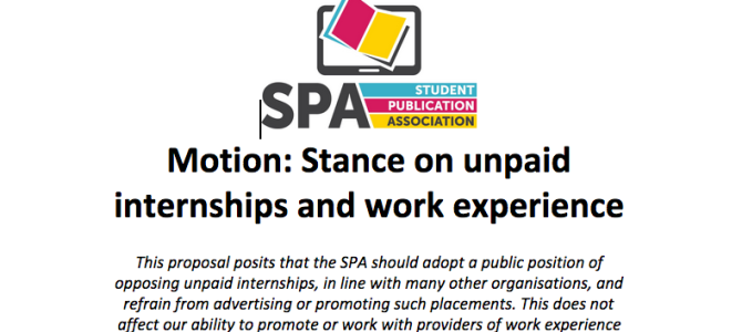 SPA votes to oppose unpaid internships
